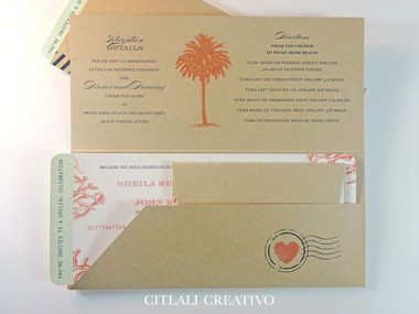 Boarding Pass Ticket Folder Wedding Invitations