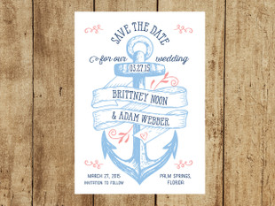Vintage Anchor Wedding Save the Dates in blues & coral
