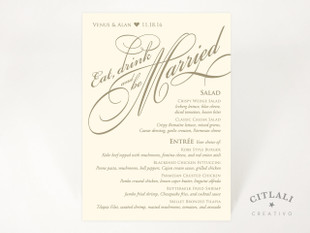 Eat Drink and be Married Menu Cards