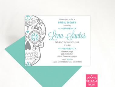 Sugar Skull Bridal Shower Party Invitation in aqua