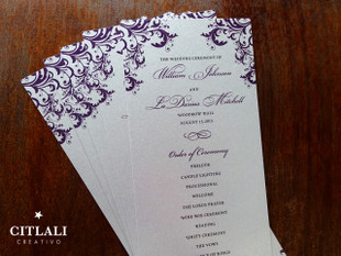 Elegant Corner Flourish Silver Wedding Ceremony Programs
