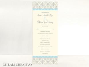 Elegant Blue & Silver Damask Wedding Ceremony Programs
