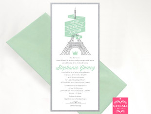 Modern Mint Eiffel Tower Quinceañera Birthday Invitations