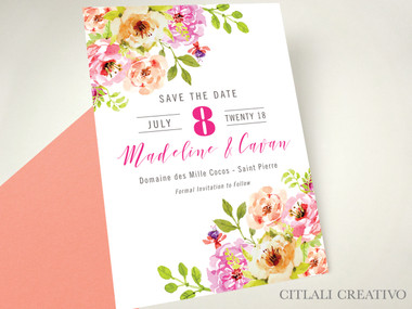 Blush Corner Watercolor Floral Wedding Save the Date cards