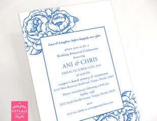 Blue Floral Rehearsal Dinner Wedding Invitations