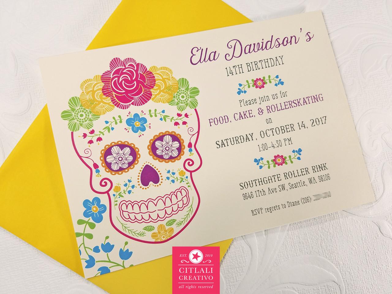 Floral Garden Fiesta Sugar Skull Birthday Party Invitations ...