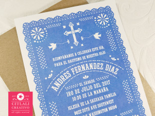 Blue Scallop Cross Papel Picado Baptism Bautizo Invitaciones