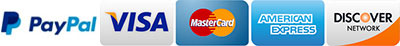 Lexli accepts Visa, MasterCard, American Express and Discover cards