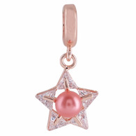 ROSE GOLD ZIRCON PINK PEARL STAR  Z-CHARM
