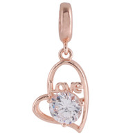 ROSE GOLD ZIRCON HANGING HEART  Z-CHARM