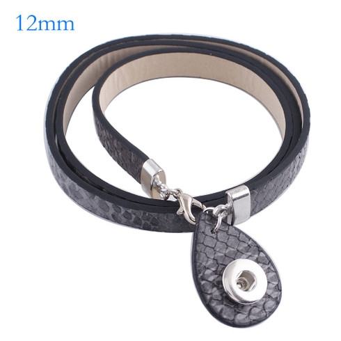 Gray Snake Drop Wrap Bracelet