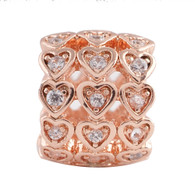 ROSE GOLD  HEARTS LINE   Z-CHARM