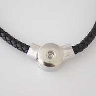 JUST ONE LEATHER NECKLACE - BLACK