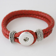RED ONE BUTTON BRAIDED LEATHER BRACELET - 21 CM