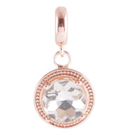 ROSE GOLD CRYSTAL GLASS DANGLE  Z-CHARM