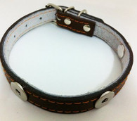 DOG LEATHER COLLAR - BROWN