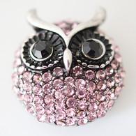 PINK CLUSTER PAVE CRYSTAL OWL