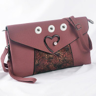 SOFT LEATHER PEARL HEART INSPIRED BAG - RED MARON