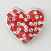 RED & WHITE CLUSTER PAVE DAZZLE  HEART