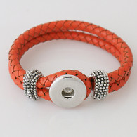 ORANGE ONE BUTTOM BRAIDED LEATHER BRACELET - 21 CM