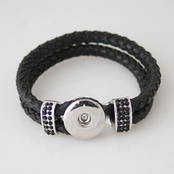 BLACK PAVE CRYSTAL LEATHER BRACELET - 21 CM
