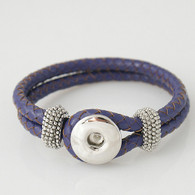 VIOLET ONE BUTTOM BRAIDED LEATHER BRACELET - 21 CM