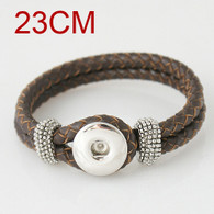 CHOCOLATE ONE BUTTOM BRAIDED LEATHER BRACELET - 23 CM