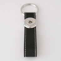 LEATHER STAINLESS STEEL KEYCHAIN - BLACK
