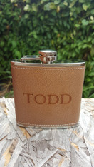 Brown Leather Stainless Steel Flask