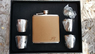 Personalized 6 oz. Leather Flask Set