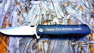 Personalized Knife with Black Handle