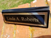 Personalized Engraved Black Piano Finish Desk Name Plate Desk Wedge Office Decor Desk Sign