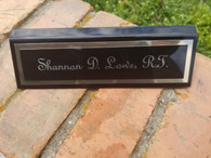 Personalized Engraved Black Piano Finish Desk Name Plate Desk Wedge Office Decor Desk Sign