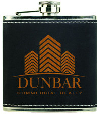 Black Textured Leather Stainless Steel Flask