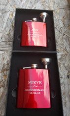 Personalized Red Flask with Funnel