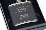 Personalized Black Leather Flask Set w/ Funnel