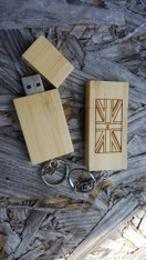 Personalized 8GB Bamboo Flash Drive with Keychain