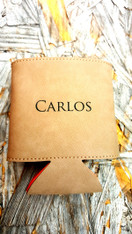 Personalized Light Brown Leather Koozie