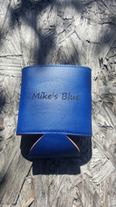 Personalized Blue Leather Koozie