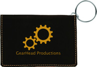 Personalized Black Leather ID Holder w/Keychain