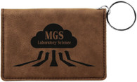 Personalized Brown Leather ID Holder w/Keychain