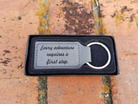 Personalized Gray Leather Keyring