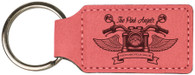 Personalized Pink Leather Keyring