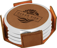 Personalized Brown Leather Coaster Set