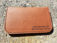 Personalized Engraved Leather Soft Business Card Holder with Wood Pen, Engraved Card Case