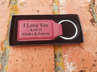 Personalized Rose Leather Keyring