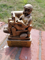 "Personalized 6"" Antique Gold Fantasy Football Trophy, Football Award"