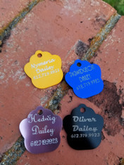 Personalized Engraved Paw Print Pet Tag, Small Dog ID Tag, Cat ID Tag, Collar Pet Tags, Pet ID Tags, Stainless Steel Pet Tags