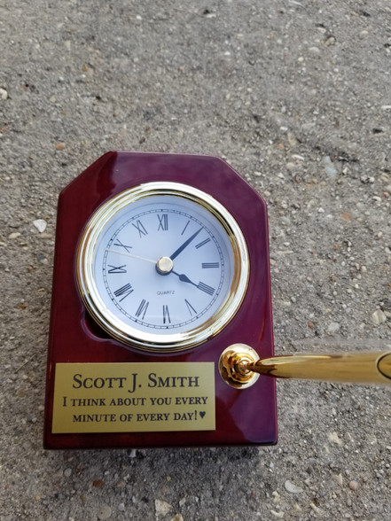 Beautiful Personalized Rosewood Piano Finish Desk Clock w/Pen, Retirement Gift, Office Gift, Mantle Clock, Quartz Clock, Corporate Gift