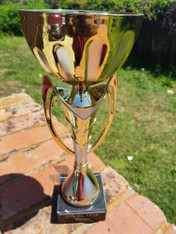 "New Beautiful Unique 12"" Gold & Silver Metal Cup Trophy on Marble Base, Custom Trophy, Award Trophy, Sports Award, Party Favor"